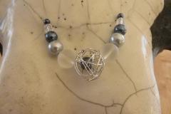 Bergkristall, Draht, Glas auf Schmuckdraht (3)
