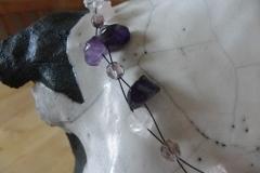 Rosenquarz, Bergkristall, Glas auf Schmuckdraht, zweifach (1)